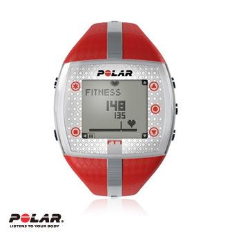 Polar FT7F女用紅色銀紋鍛煉鬥志專業心率錶,支援FlowLink
