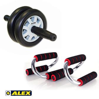 ALEX 第二代伏地挺身器+雙輪式健身滾輪/健腹輪_B-20+21