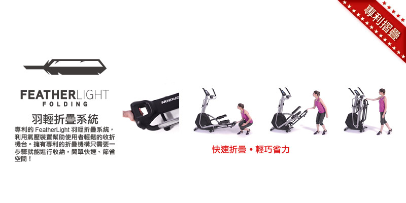 The feather light folding system uses the air pressure device to help the user to easily fold the machine. When the exercise is over, it only needs one step to store it. It is simple and fast. It saves space! When the machine is deployed, the air pressure device can also slow down it. Slow down, achieve safety and effort!